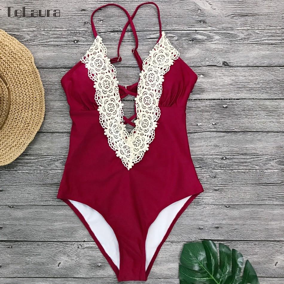 2019 Sexy Lace One Piece Swimsuit, Women's Monokini Bandage Bodysuit Beach Wear Bathing Suit 13