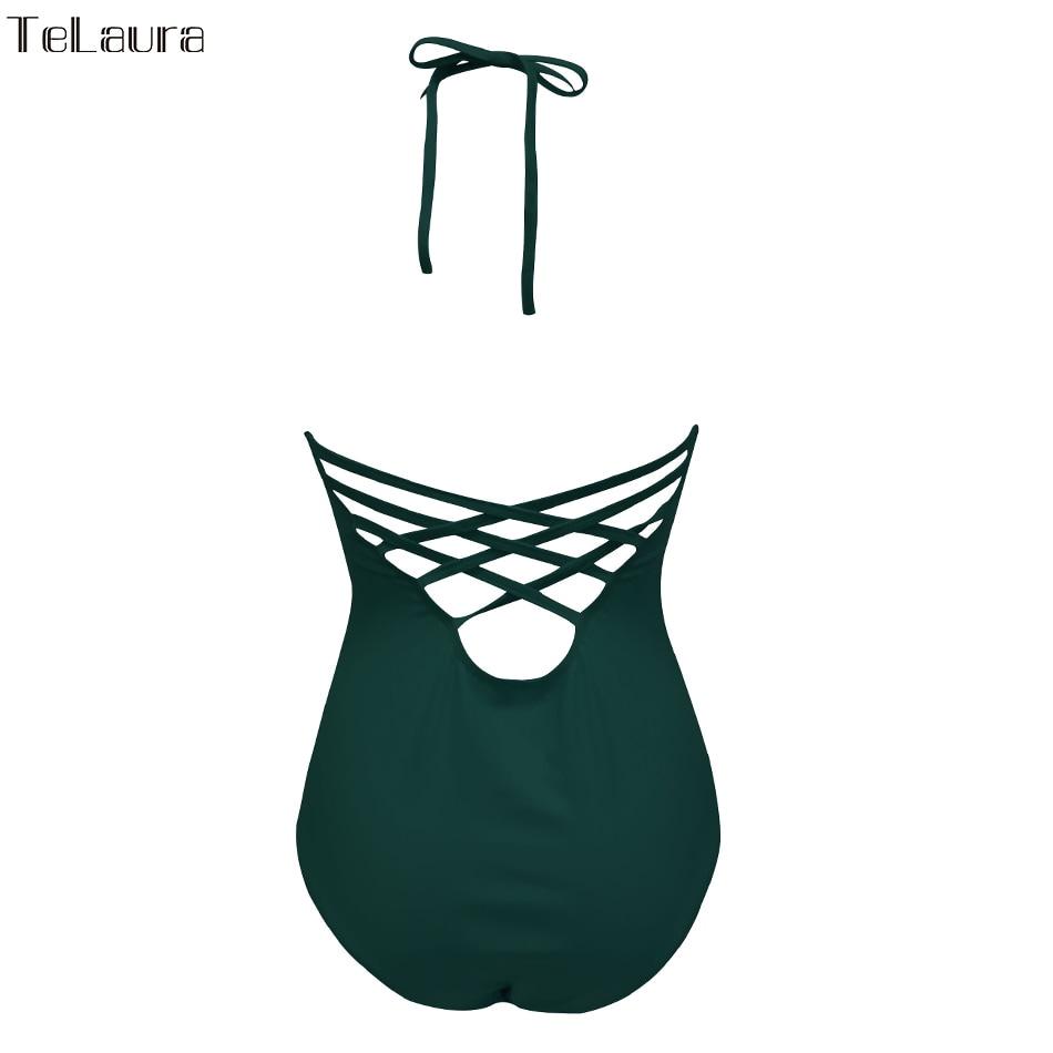 One Piece Swimsuit, Women's Bandage Vintage Beach Wear, Solid Bathing Suit, Monokini Retro Swimsuit 38