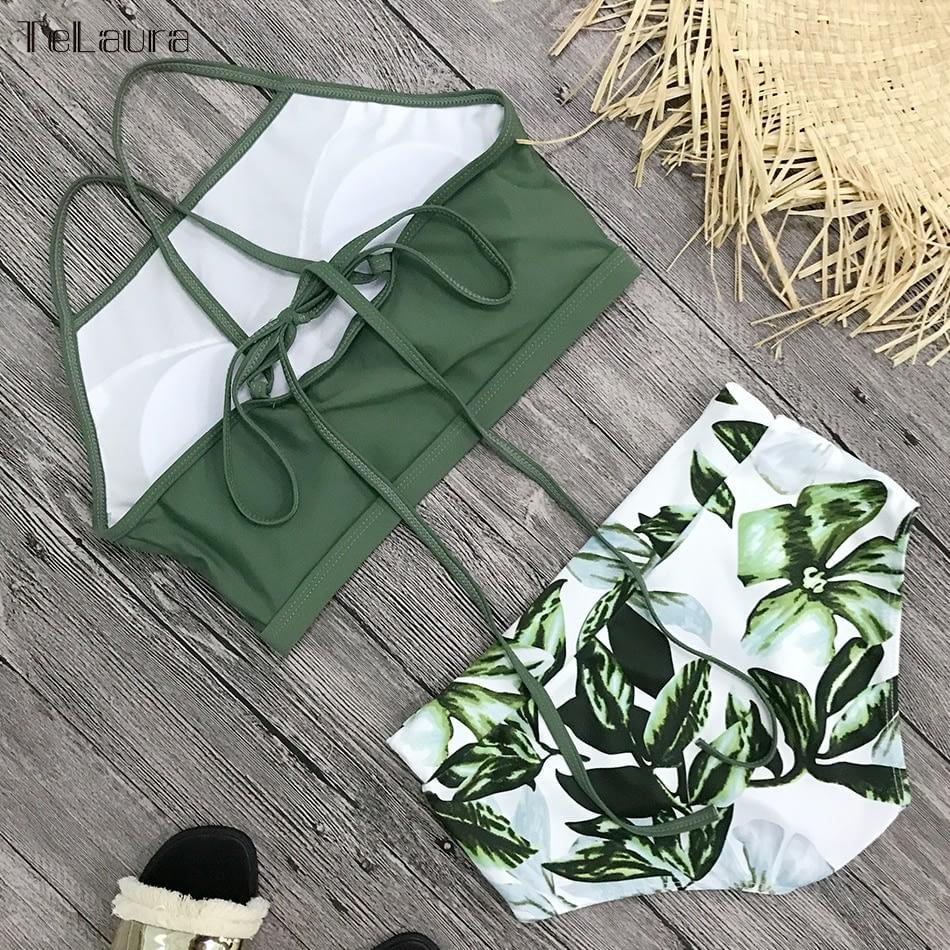 New 2 Piece, High Waist, Bikini Swimwear, Women's Push Up Biquini Bathing Suit, High Neck Women's Summer Beach Wear 13