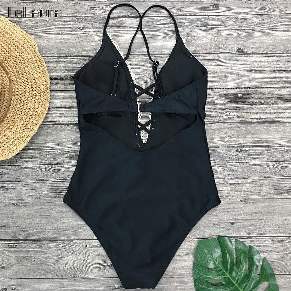 2019 Sexy Lace One Piece Swimsuit, Women's Monokini Bandage Bodysuit Beach Wear Bathing Suit 16