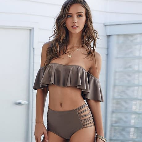 Ruffles Bandeau Bikini Set