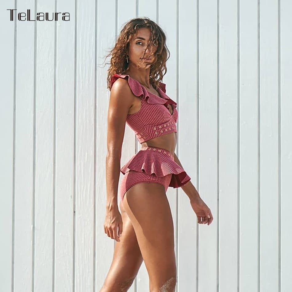 2019 New High Waist Bikini, Women's 2 Piece Bathing Suit, Biquini Ruffle Bikini Summer Beach Wear 5