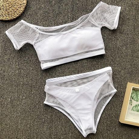 New 2019 Mesh High Waist Bikini, Off Shoulder Swimsuit, Female Push Up Sexy Bathing Suit, Bandeau Bikini Set 3