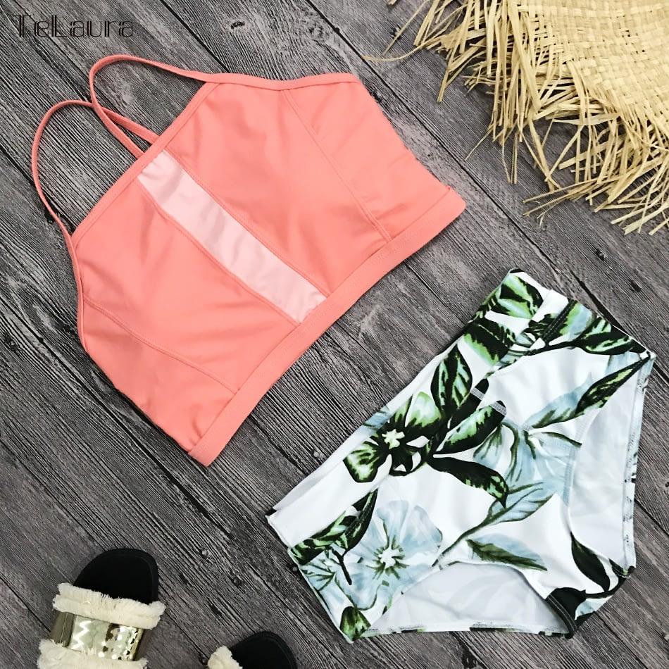New 2 Piece, High Waist, Bikini Swimwear, Women's Push Up Biquini Bathing Suit, High Neck Women's Summer Beach Wear 14