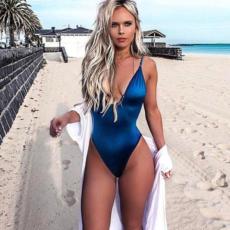 Women's Swimwear, 2019, Sexy One Piece Swimsuit,  High Cut Monokini, Deep V Swim Suit, Retro Bodysuit Bathing Suit