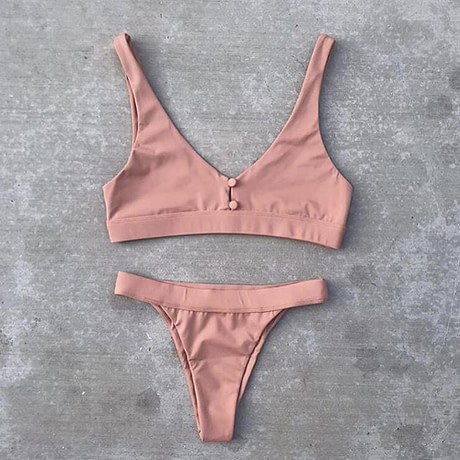 Sexy Bikinis, Solid Push Up Bikini, 2019, Padded Bra Button, Low Waist Thong Swimsuit 4