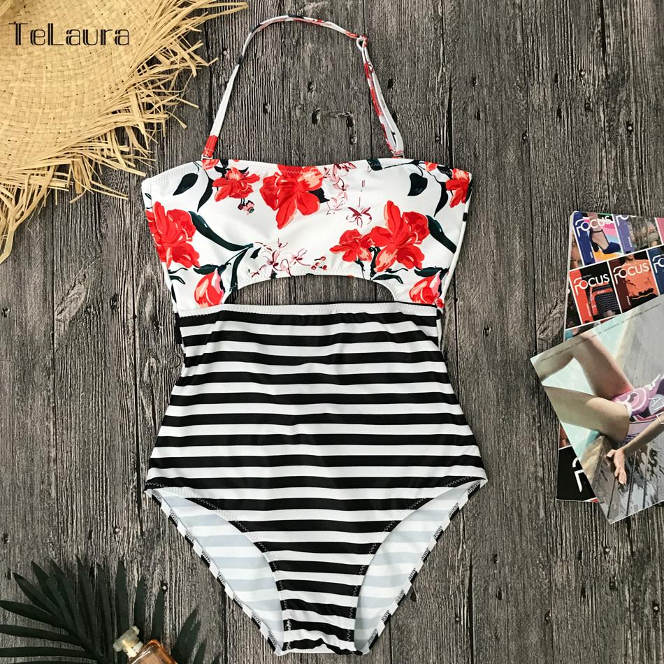 2019 One Piece Swimsuit, Women's Monokini Halter Bodysuit, Bandage Swimsuit, Hollow Out High Waist Bathing Suit 29