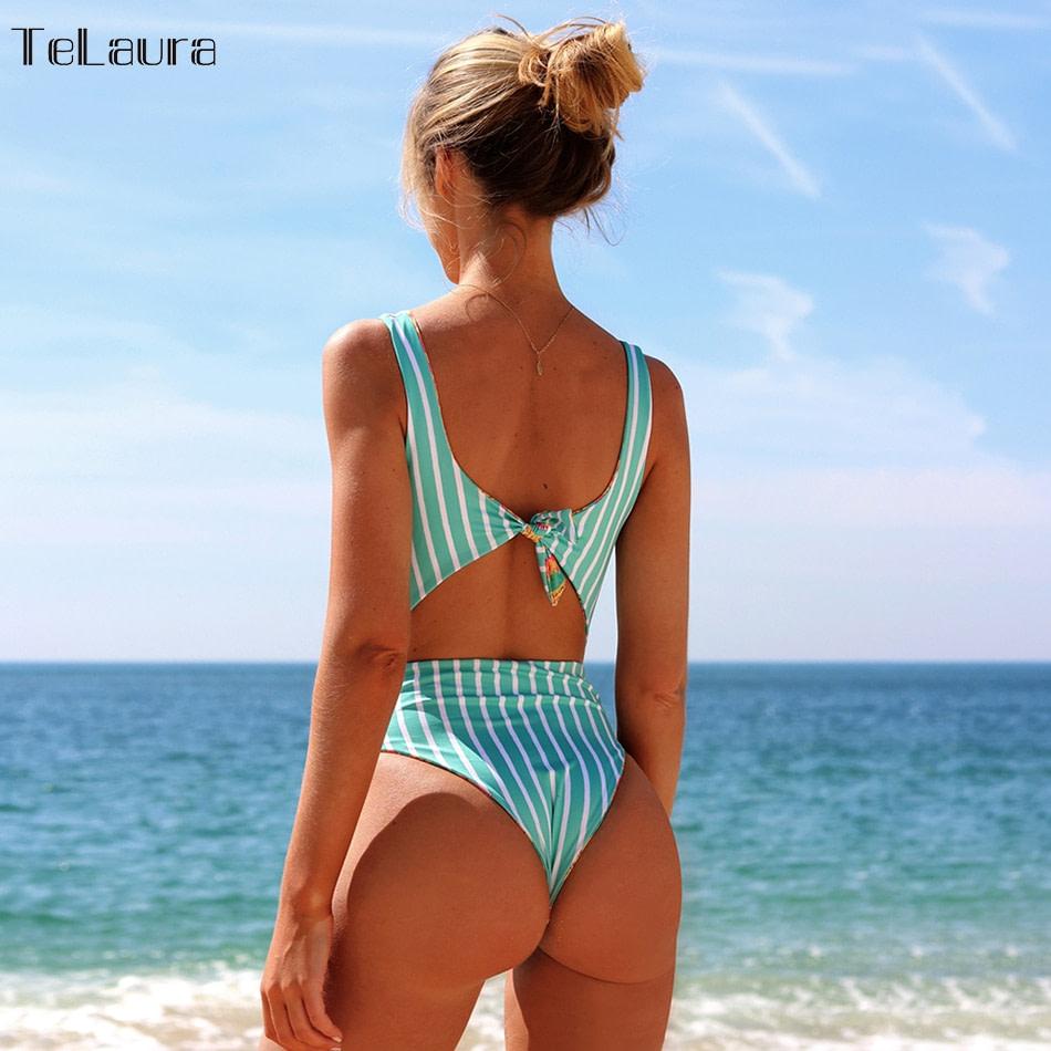 2019 One Piece Swimsuit, Women's Monokini Halter Bodysuit, Bandage Swimsuit, Hollow Out High Waist Bathing Suit 6
