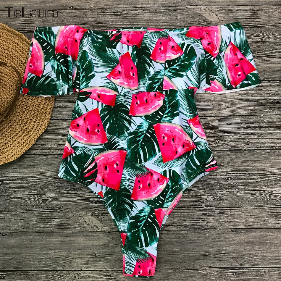 2019 Sexy Ruffle One Piece Swimsuit, Women's Monokini Off Shoulder Swim Suit 19