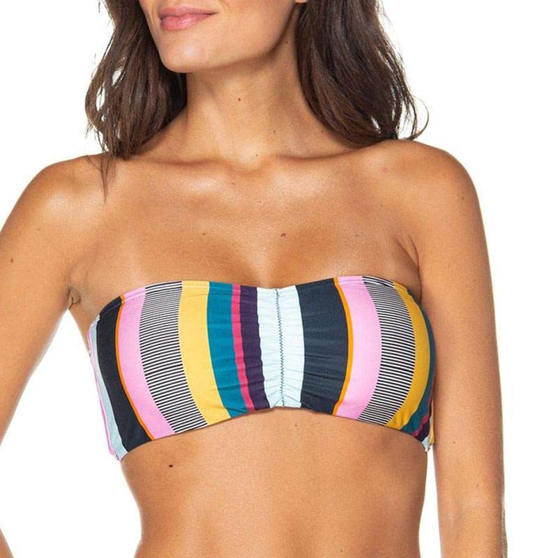 Bandeau Bikini, 2019 Striped, Strapless, Push Up Swimwear, Women's Tie Side Bathing Suit 17