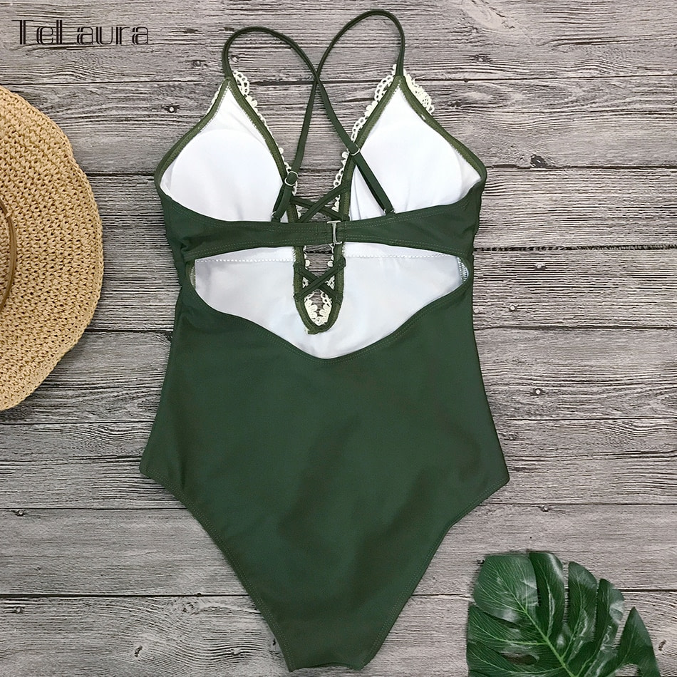 2019 Sexy Lace One Piece Swimsuit, Women's Monokini Bandage Bodysuit Beach Wear Bathing Suit 9