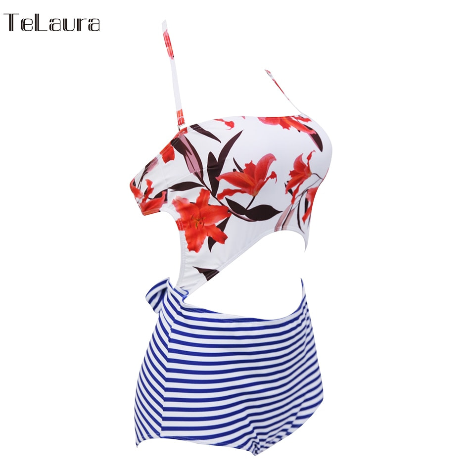 2019 One Piece Swimsuit, Women's Monokini Halter Bodysuit, Bandage Swimsuit, Hollow Out High Waist Bathing Suit 25