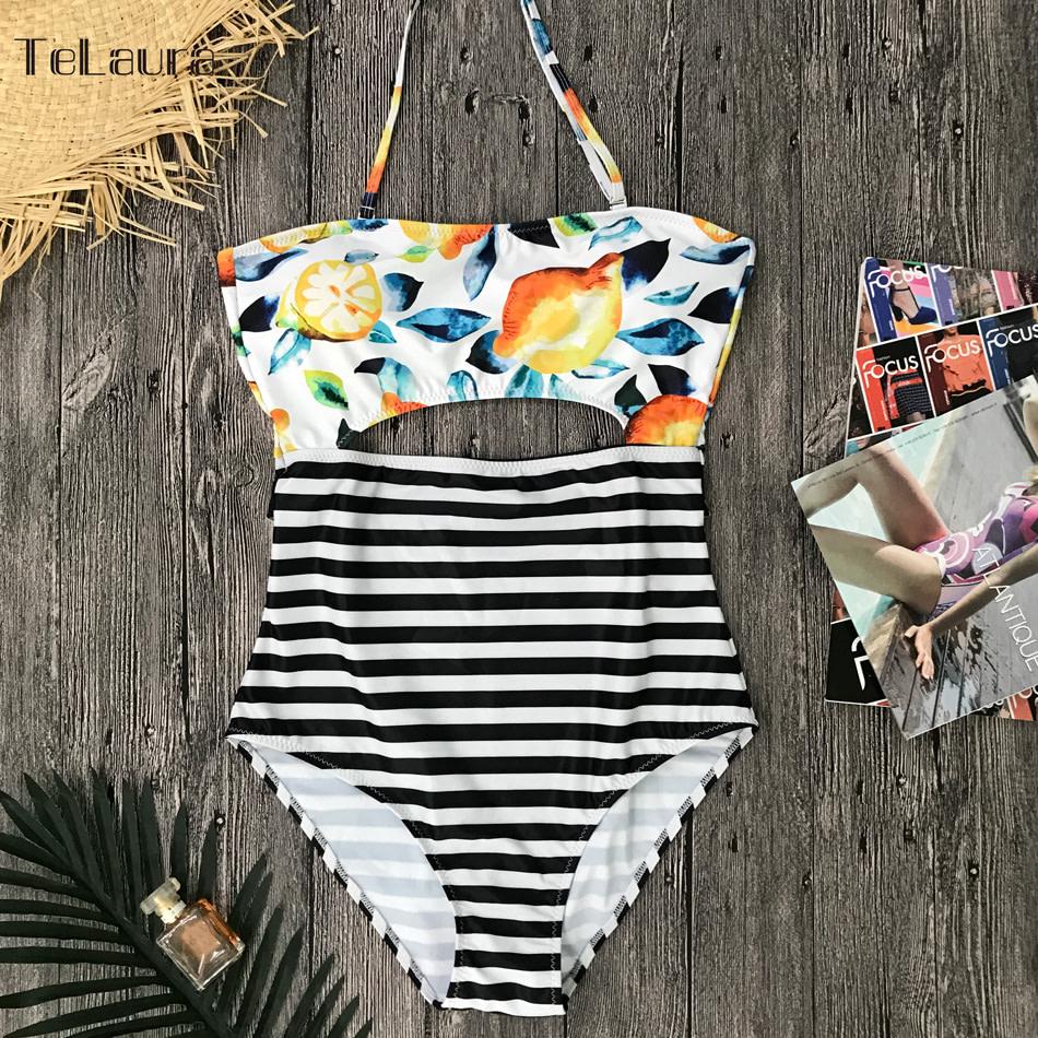 2019 One Piece Swimsuit, Women's Monokini Halter Bodysuit, Bandage Swimsuit, Hollow Out High Waist Bathing Suit 31