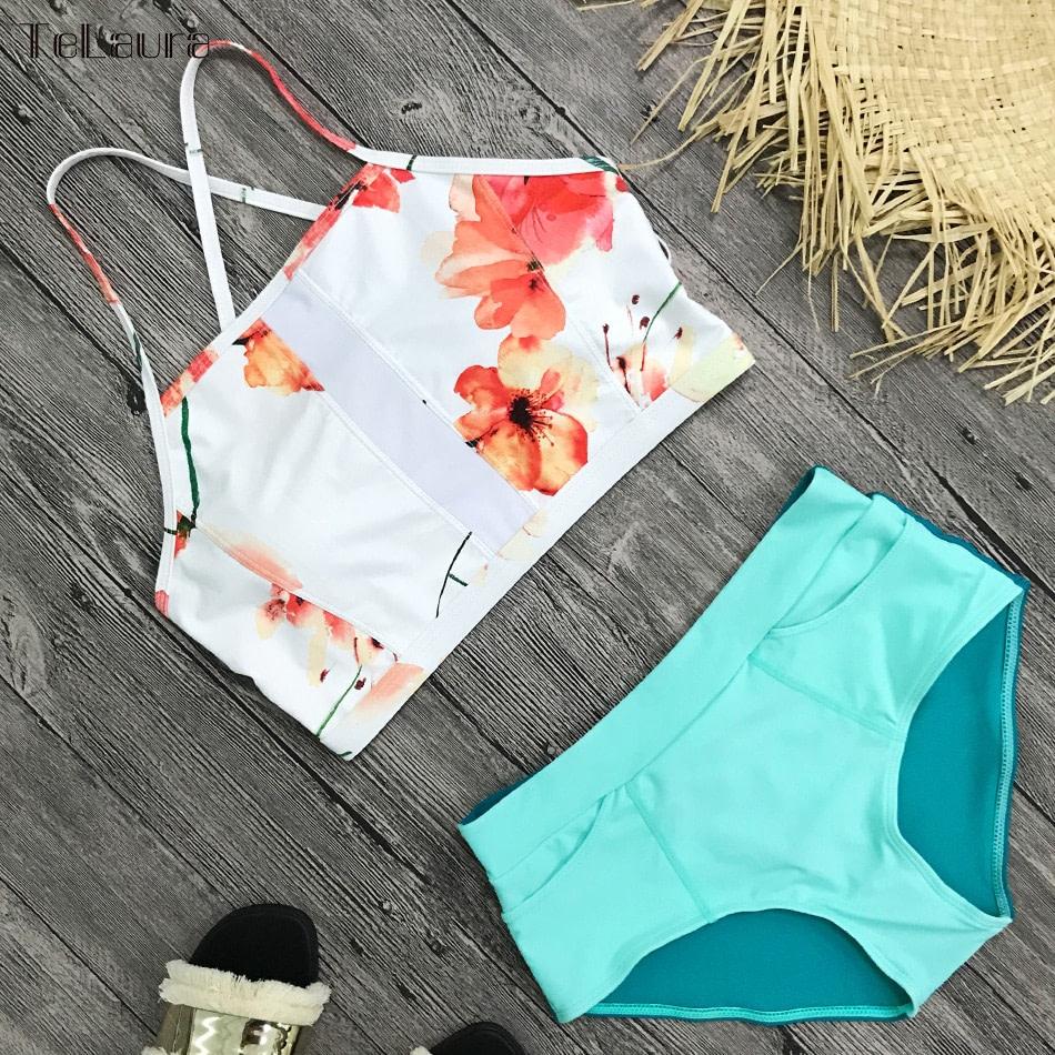 New 2 Piece, High Waist, Bikini Swimwear, Women's Push Up Biquini Bathing Suit, High Neck Women's Summer Beach Wear 10