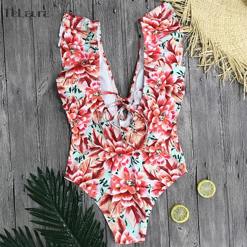 Sexy Ruffle One Piece Swimsuit, Women's Swimwear, Monokini Bodysuit Print Swim Suit, Backless Bathing Suit Beach Wear 28