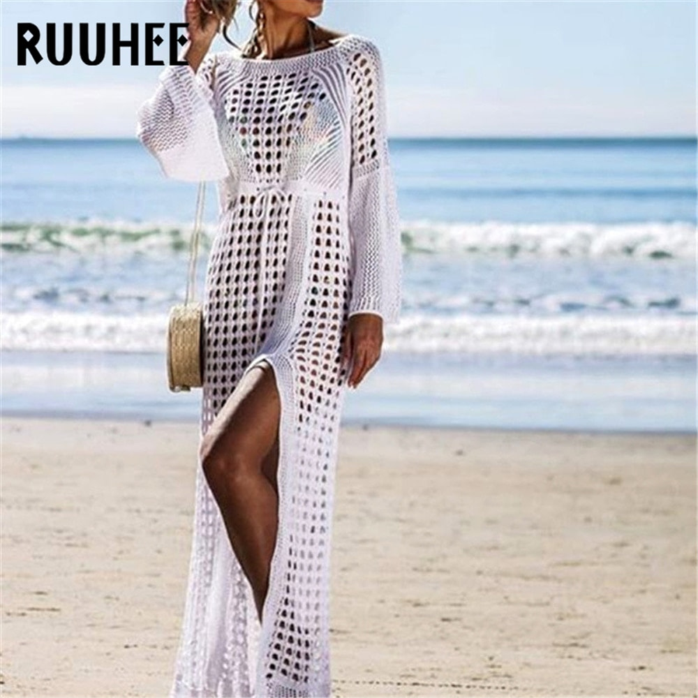 Lace Cover-Up, Women's Swimsuit Knitted, Summer Crochet See-through Hollow Beach Dress Tunic 4