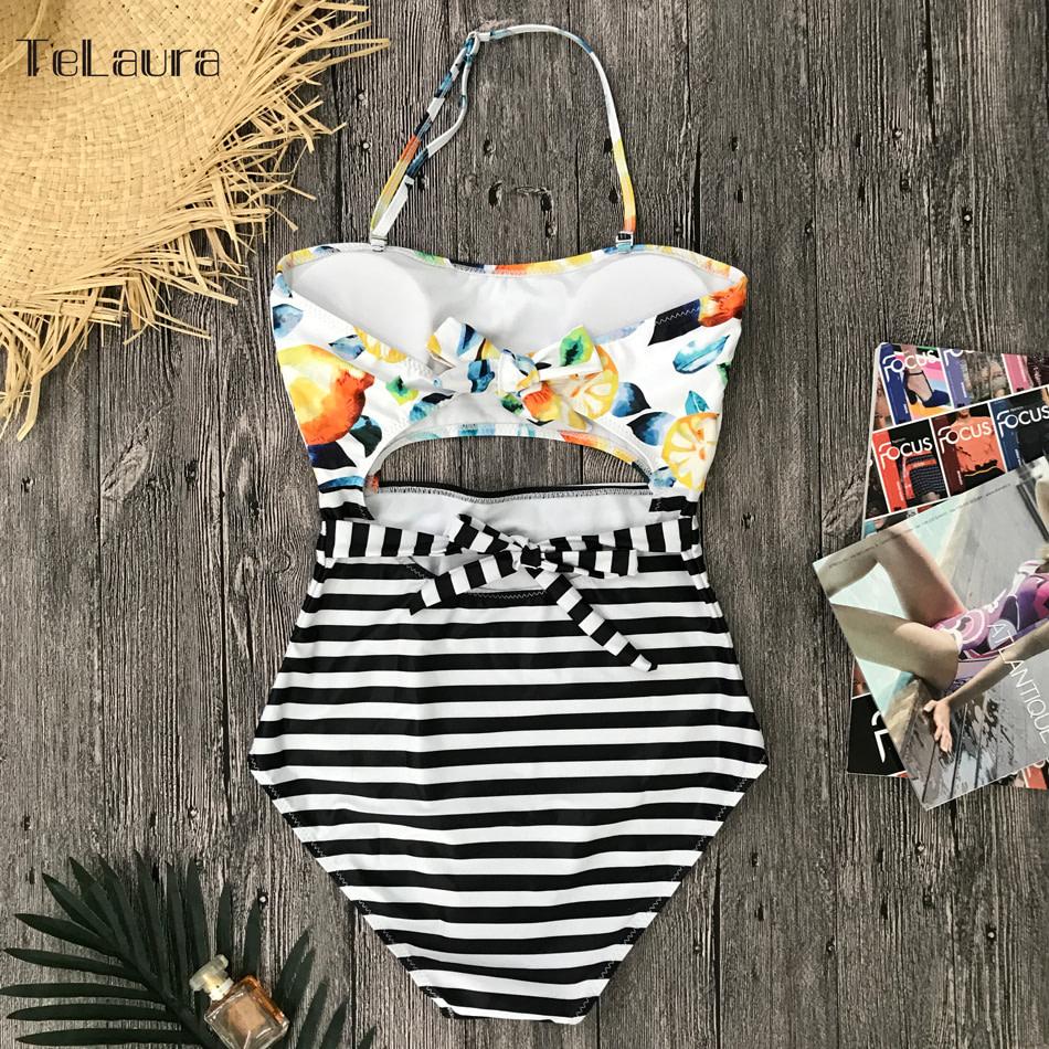 2019 One Piece Swimsuit, Women's Monokini Halter Bodysuit, Bandage Swimsuit, Hollow Out High Waist Bathing Suit 32