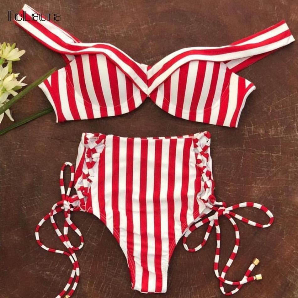 Sexy High Waist Bikini, 2019 Women's Swimsuit, Bandeau Bikinis Set, Biquini Swimming Suit 14