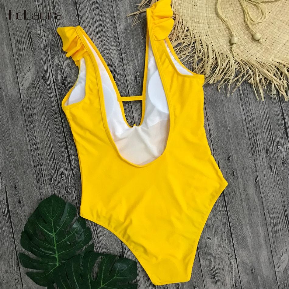 Sexy Ruffle One Piece Swimsuit, Women's Swimwear, Monokini Bodysuit Print Swim Suit, Backless Bathing Suit Beach Wear 36