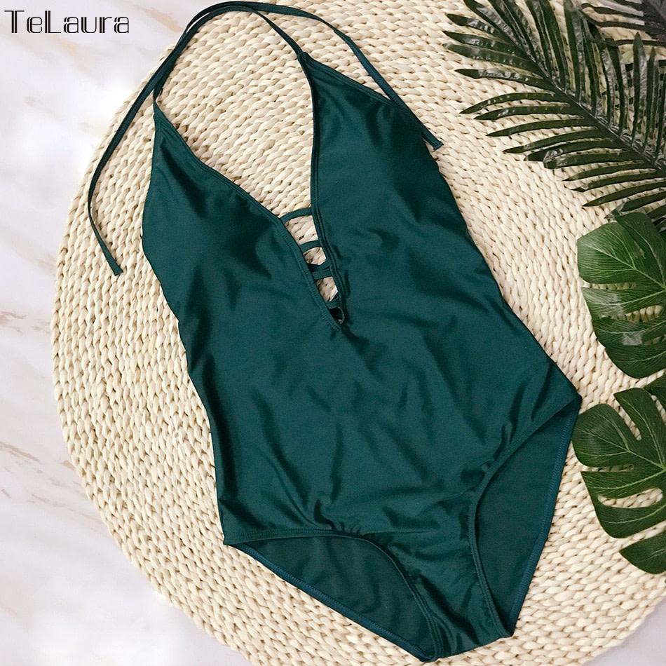 One Piece Swimsuit, Women's Bandage Vintage Beach Wear, Solid Bathing Suit, Monokini Retro Swimsuit 35