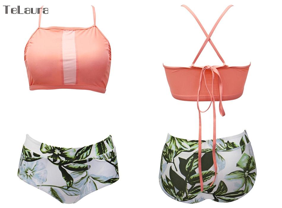 New 2 Piece, High Waist, Bikini Swimwear, Women's Push Up Biquini Bathing Suit, High Neck Women's Summer Beach Wear 19