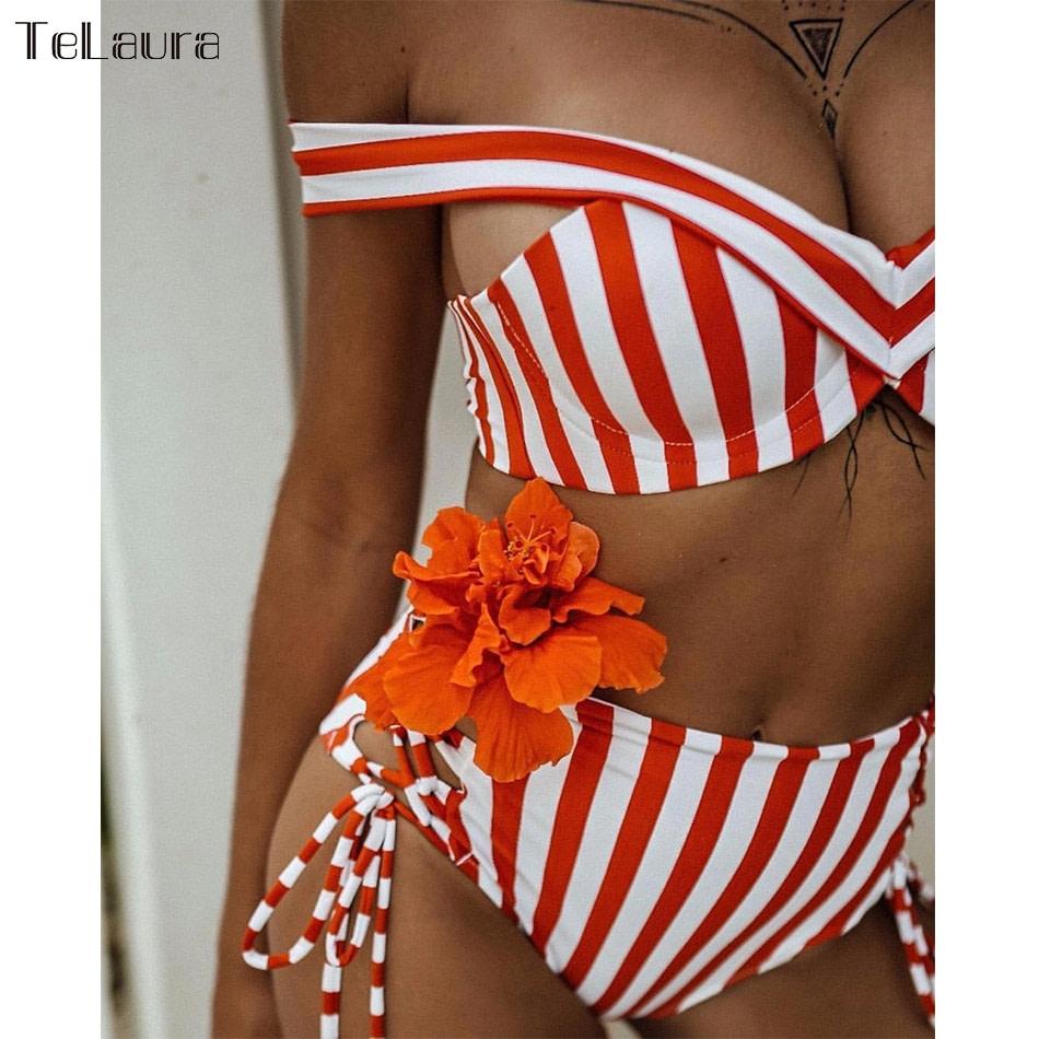 Sexy High Waist Bikini, 2019 Women's Swimsuit, Bandeau Bikinis Set, Biquini Swimming Suit 12