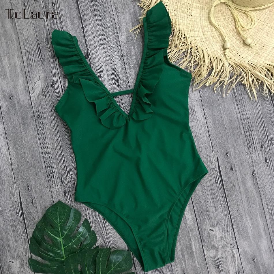Sexy Ruffle One Piece Swimsuit, Women's Swimwear, Monokini Bodysuit Print Swim Suit, Backless Bathing Suit Beach Wear 37
