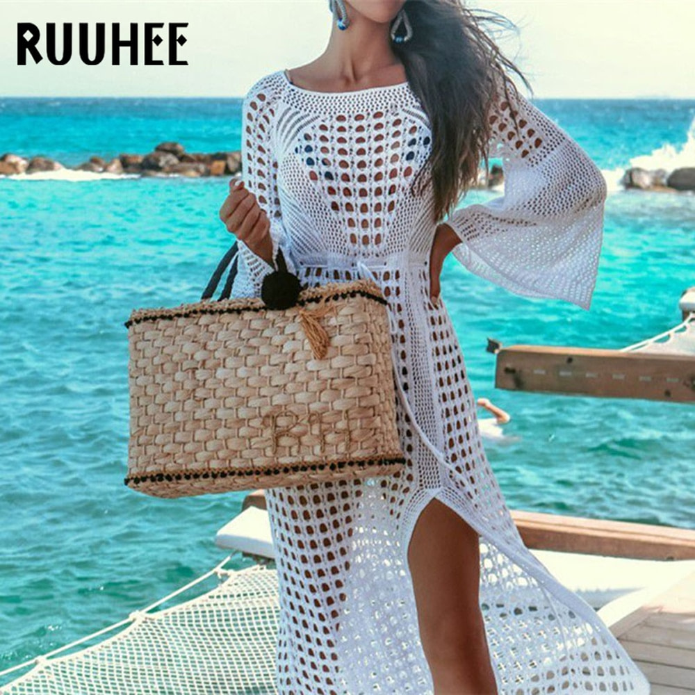 Lace Cover-Up, Women's Swimsuit Knitted, Summer Crochet See-through Hollow Beach Dress Tunic 2