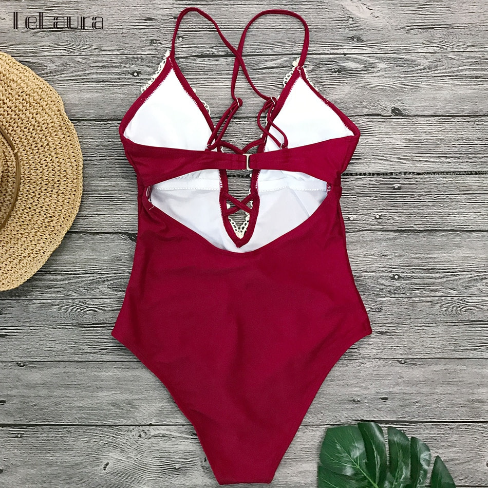 2019 Sexy Lace One Piece Swimsuit, Women's Monokini Bandage Bodysuit Beach Wear Bathing Suit 14
