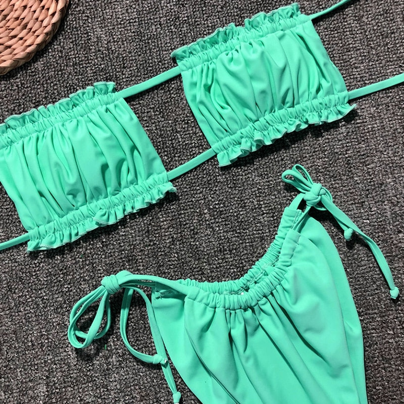 Sexy Micro Bikini, 2019 Ruffle Brazilian Swimsuit, Women's String Bandeau Swimwear, High Cut Bikini 30