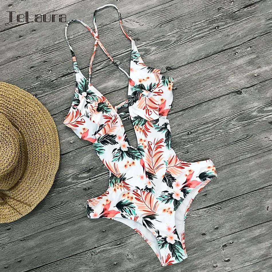 Sexy Ruffle One Piece Swimsuit, Women's Swimwear, Monokini Bodysuit Print Swim Suit, Backless Bathing Suit Beach Wear 50