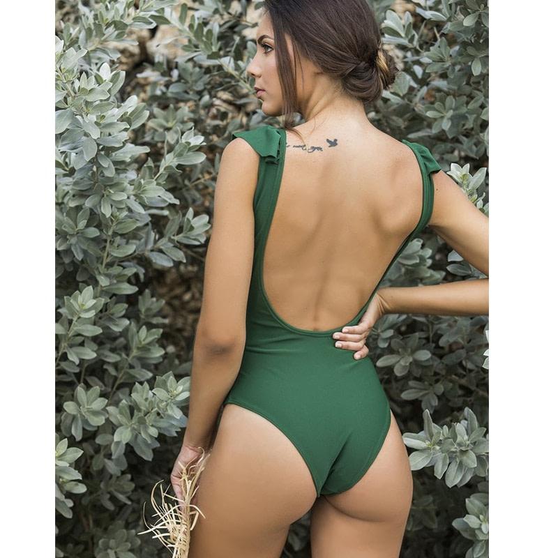 Sexy Ruffle One Piece Swimsuit, Women's Swimwear, Monokini Bodysuit Print Swim Suit, Backless Bathing Suit Beach Wear 22