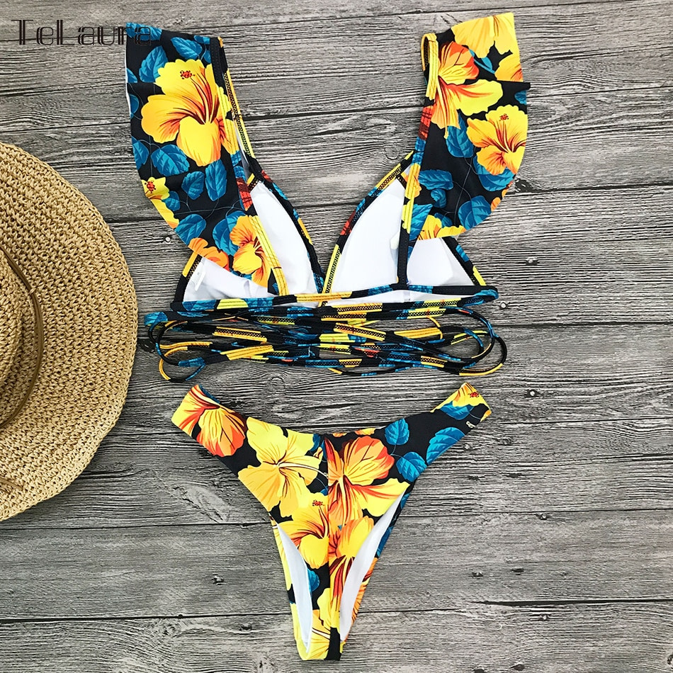2019 Sexy Bikini Swimwear, Women's Swimsuit, Push Up Bikinis, Women's Biquini Bathing Suit, Ruffle Swimsuit 6