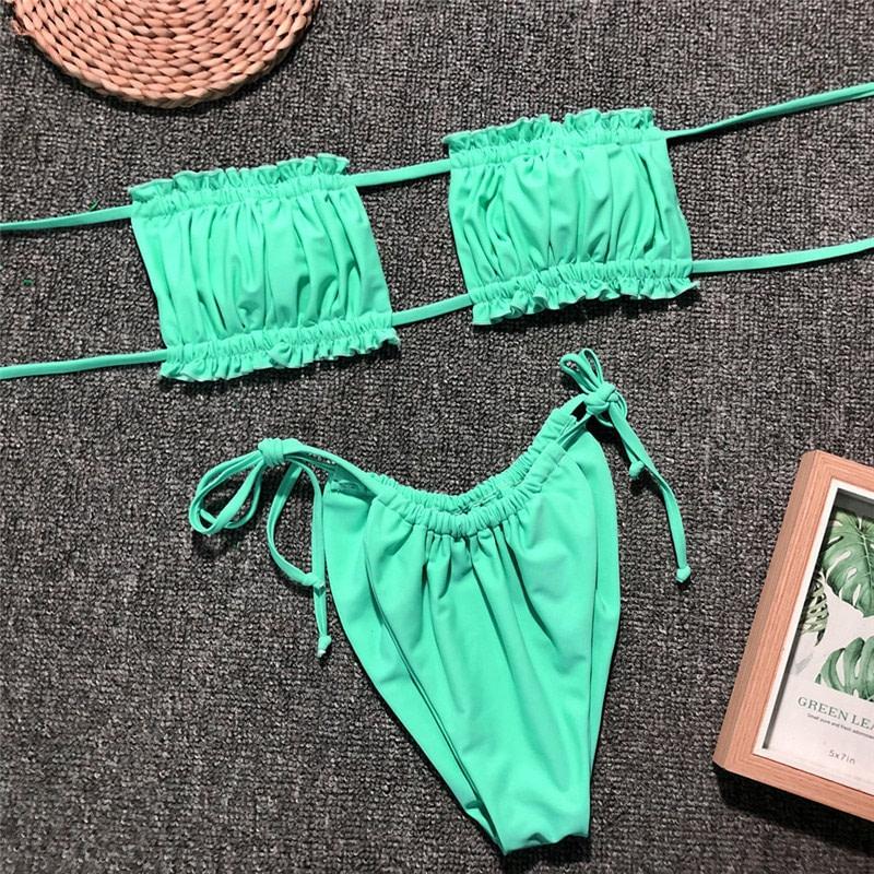 Sexy Micro Bikini, 2019 Ruffle Brazilian Swimsuit, Women's String Bandeau Swimwear, High Cut Bikini 27