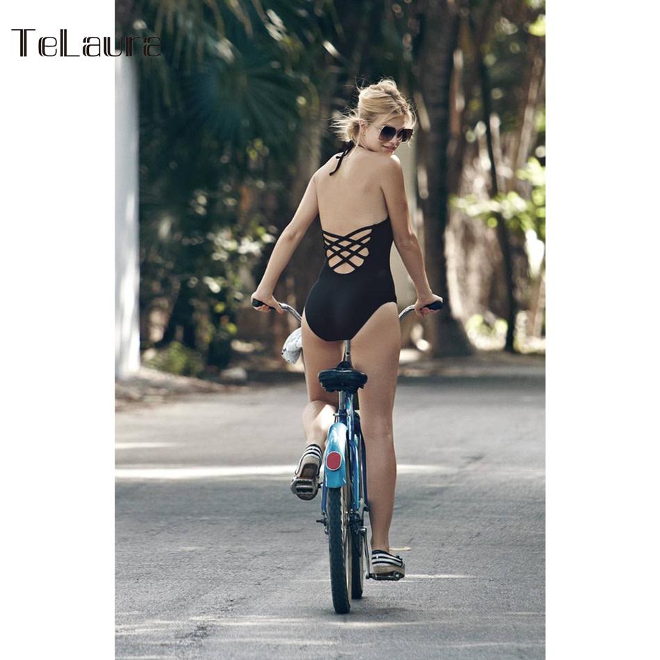 One Piece Swimsuit, Women's Bandage Vintage Beach Wear, Solid Bathing Suit, Monokini Retro Swimsuit 24