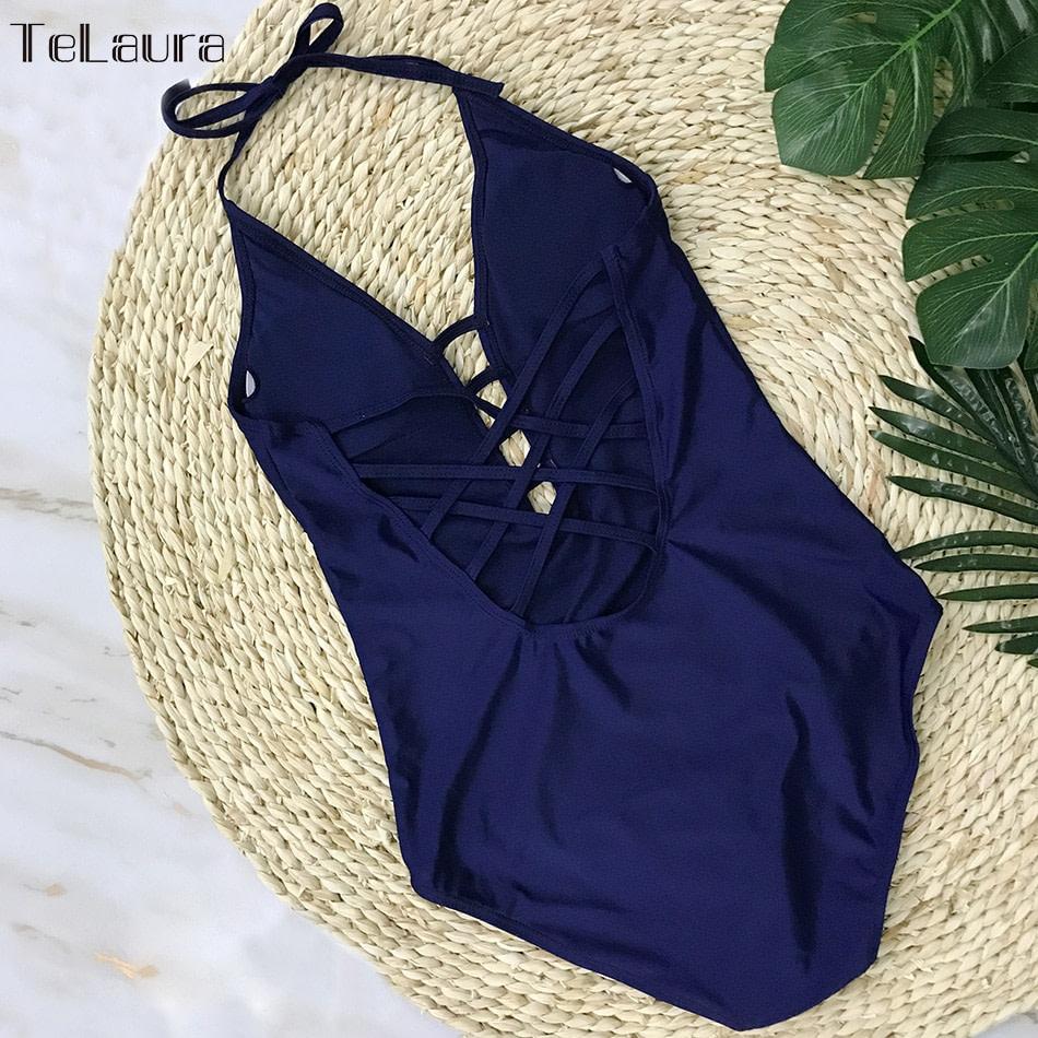 One Piece Swimsuit, Women's Bandage Vintage Beach Wear, Solid Bathing Suit, Monokini Retro Swimsuit 32