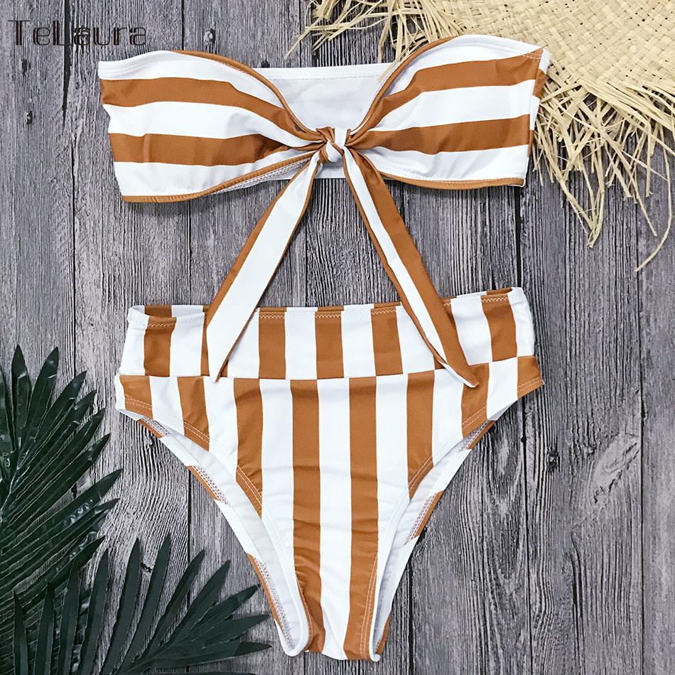Sexy High Waist Bikini, Women's Swimsuit Bandeau Bikinis Set, Biquini Beachwear 10