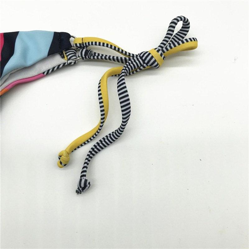 Bandeau Bikini, 2019 Striped, Strapless, Push Up Swimwear, Women's Tie Side Bathing Suit 26