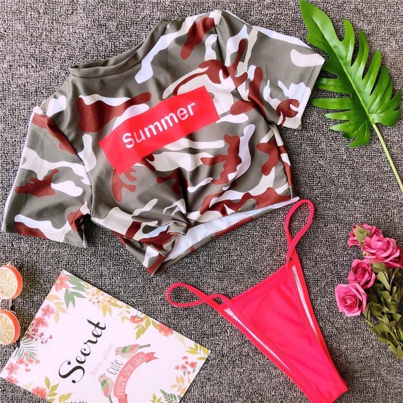 Women's Brazilian Thong Bikini, 2019 Women's T-Shirt Swimsuit, Push up, Two-Piece Suit 50