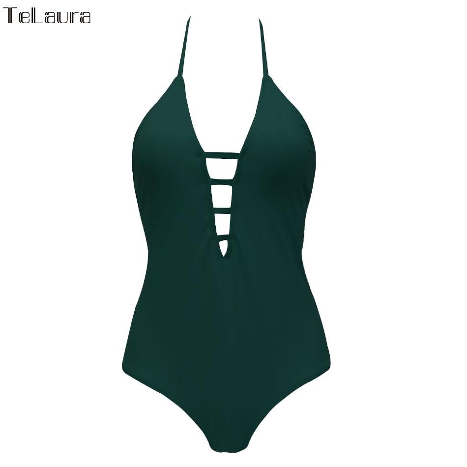 One Piece Swimsuit, Women's Bandage Vintage Beach Wear, Solid Bathing Suit, Monokini Retro Swimsuit 37