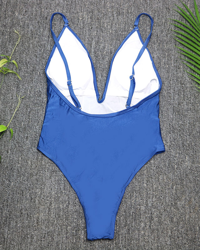 Women's Swimwear, 2019, Sexy One Piece Swimsuit, High Cut Monokini, Deep V Swim Suit, Retro Bodysuit Bathing Suit 13