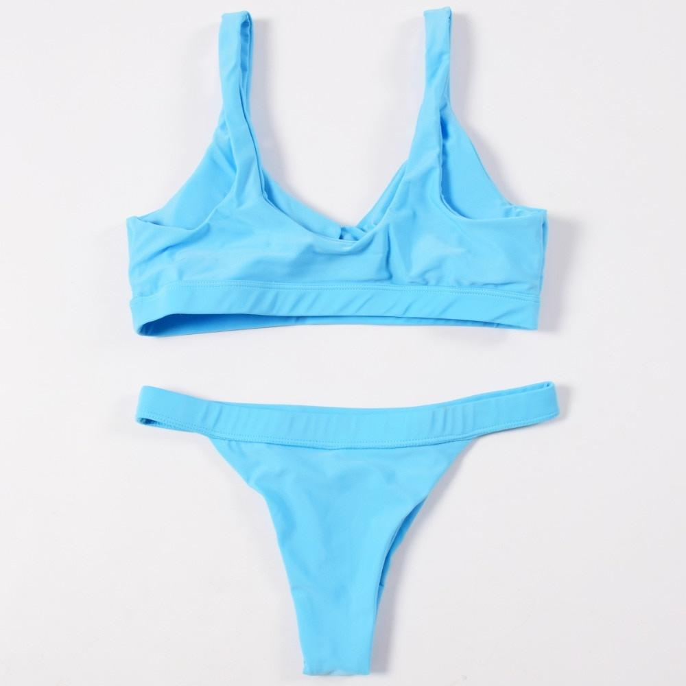 Sexy Bikinis, Solid Push Up Bikini, 2019, Padded Bra Button, Low Waist Thong Swimsuit 36