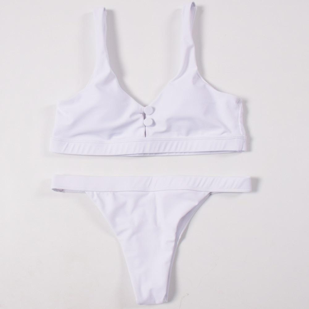 Sexy Bikinis, Solid Push Up Bikini, 2019, Padded Bra Button, Low Waist Thong Swimsuit 37