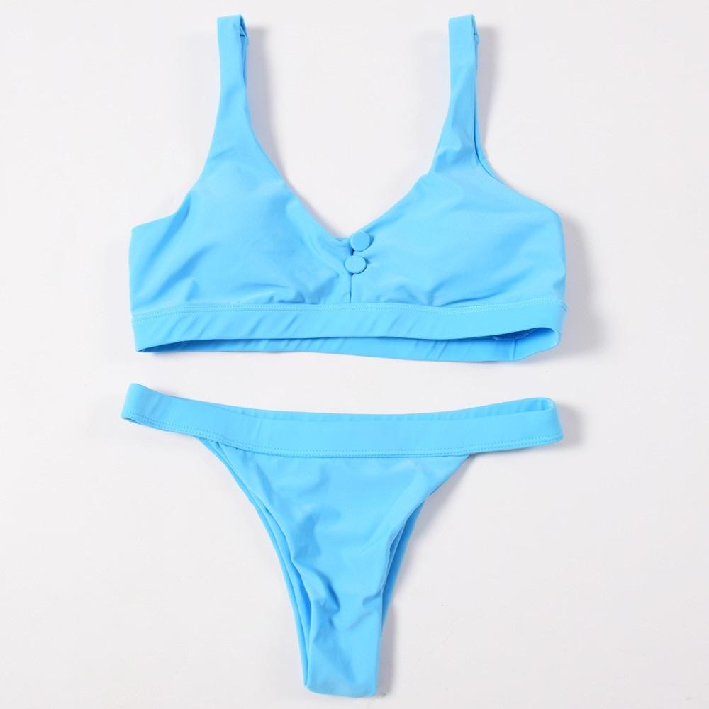 Sexy Bikinis, Solid Push Up Bikini, 2019, Padded Bra Button, Low Waist Thong Swimsuit 35