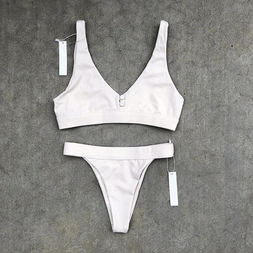 Sexy Bikinis, Solid Push Up Bikini, 2019, Padded Bra Button, Low Waist Thong Swimsuit 26