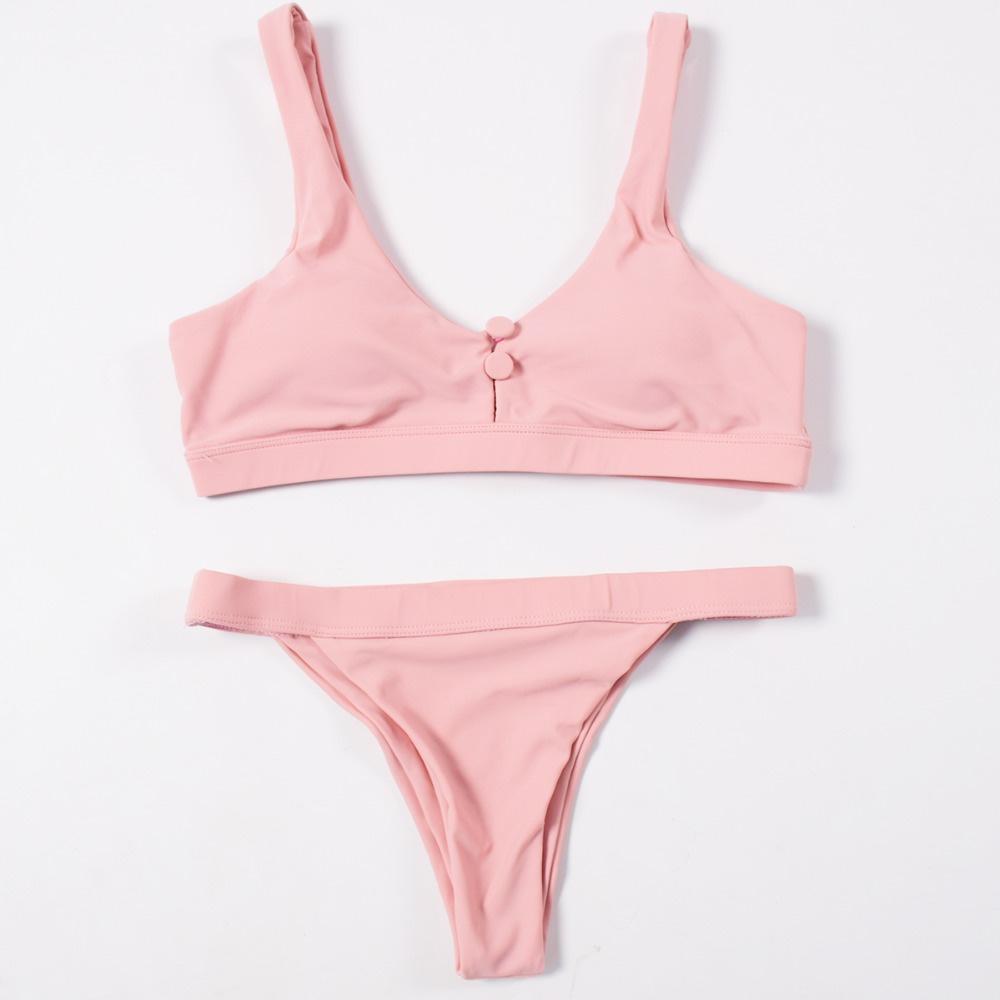 Sexy Bikinis, Solid Push Up Bikini, 2019, Padded Bra Button, Low Waist Thong Swimsuit 33