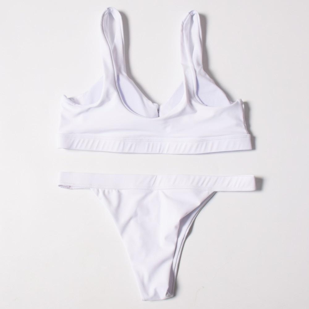 Sexy Bikinis, Solid Push Up Bikini, 2019, Padded Bra Button, Low Waist Thong Swimsuit 38