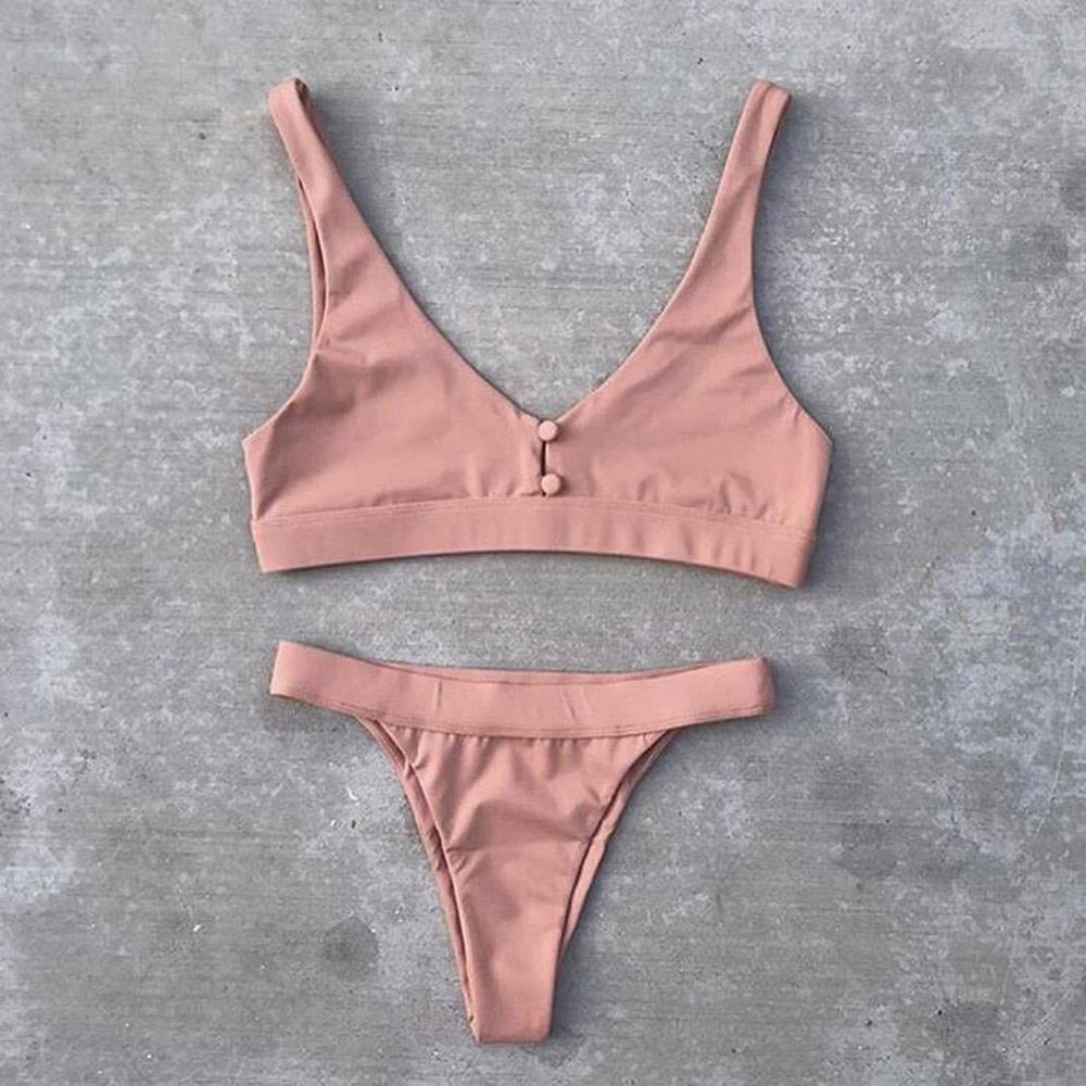 Sexy Bikinis, Solid Push Up Bikini, 2019, Padded Bra Button, Low Waist Thong Swimsuit 31