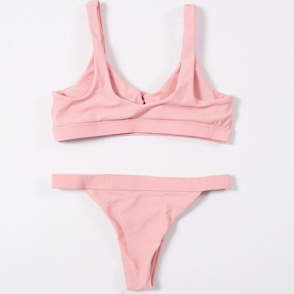 Sexy Bikinis, Solid Push Up Bikini, 2019, Padded Bra Button, Low Waist Thong Swimsuit 34