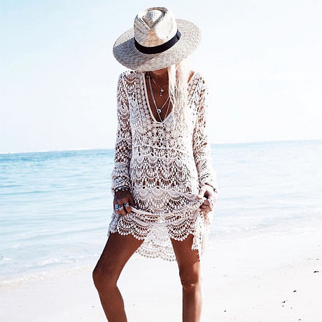 Crochet Beach Cover Up White